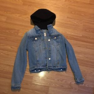 Jean jacket with black hood attached!!
